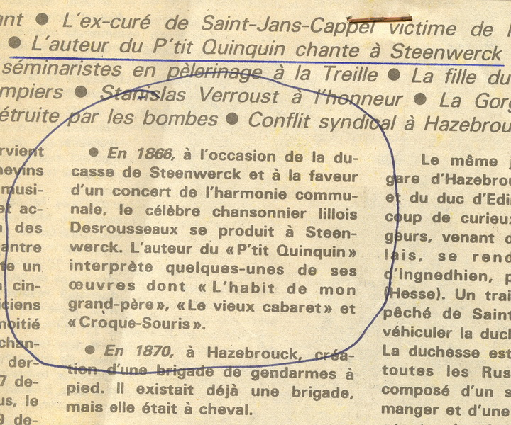 Article de journal relatant la venue de Derousseau à Steenwerck